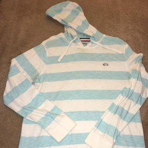 American Rag blue and white hooded shirt Large